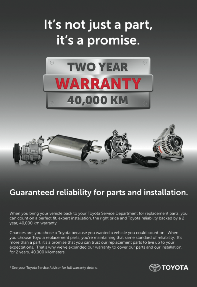 Toyota Genuine Parts Guarantee!