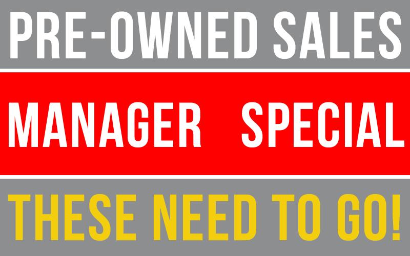 Pre-Owned Sales Manager Special's