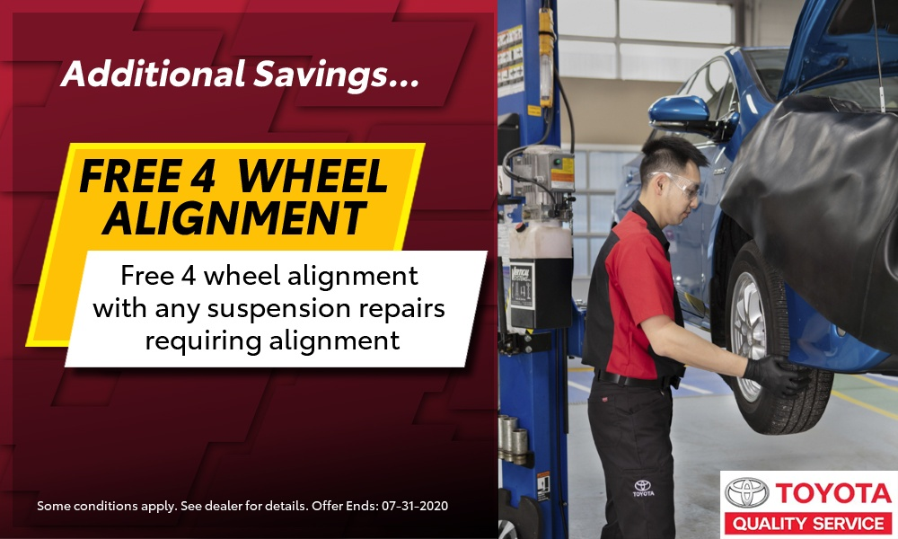 Free 4 Wheel Alignment with any Suspension Repairs Requiring Alignment